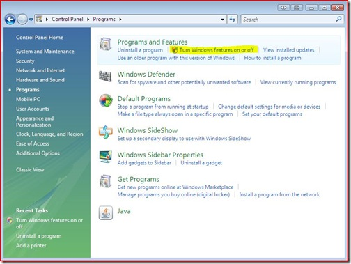 turn on features thumb Telnet Client on Windows Vista
