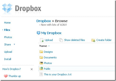 Dropbox browser view