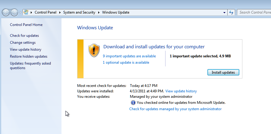 Windows Update Found Updates to install