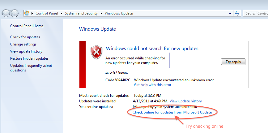 Windows Update Error message link to check Microsoft Updates
