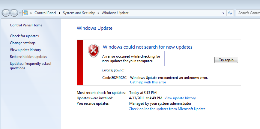 windows update error Windows Cannot Search For New Updates Problem